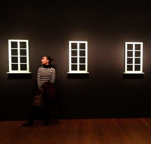 Frush Willow (Elaine Sturtevant, Double Trouble showing seven examples of Duchamp Fresh Widow)